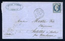 Lettre De Paris Pour La Sallèle D'Aude 1861 Cachet BS2 - 1849-1876: Période Classique