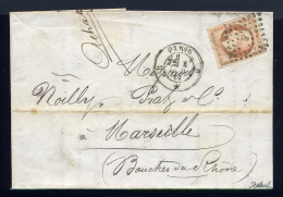 Lettre De Paris Pour Marseille Noilly Prat 1858 - Marcophilie (Lettres)