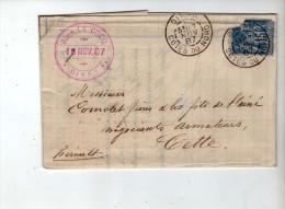 YT 90 Sur Lettre - 1887 - CAD Dinan + Cette + Ambulant IP8 + Perso Rose - Banque Le Cocq / Armateur Comolet - 1876-1898 Sage (Type II)