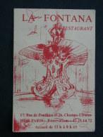 Ref3636 B Carton / Carte Publicitaire Restaurant La Fontana Paris - Publicité - Publicidad
