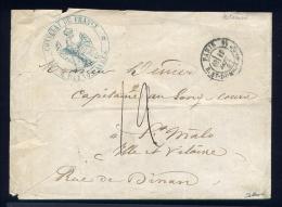 Lettre Du Consulat De France à Buenos Ayres Postée à Paris Pour St Malo 1867 - 1849-1876: Klassik