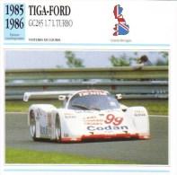 Fiche - Voitures De Course  Le Mans  -  Tiga-Ford GC285 Turbo  - 1985   -  Carte De Collection - Le Mans