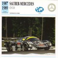 Fiche - Voitures De Course  Le Mans  -  Sauber-Mercedes C9/C10  - 1988   -  Carte De Collection - Le Mans