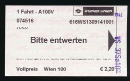 Ticket De Transport : VIENNE, Autriche, U-BAHN (Reseau Métropolitain) 5 Lignes, Metro - Subway