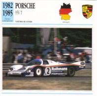 Fiche - Voitures De Course  Le Mans  -  Porsche 956T  - 1983   -  Carte De Collection - Le Mans