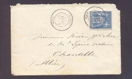 ALLIER 03 VICQ Env  Tad Type 18 Sur 15 C Sage Du 21 Juin 1887 TB - Storia Postale