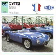Fiche - Voitures De Course  Le Mans  -  Gordini Type 31S   - 1957   -  Carte De Collection - Le Mans