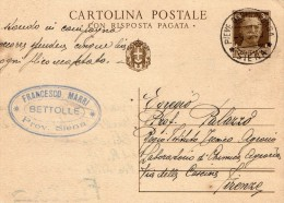 1939  CARTOLINA CON ANNULLO PIEVE DI SINALUNGA SIENA