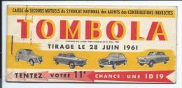 Carnet De 4 Billets Sur 10 De Tombola 1961 - Publicité Automobile  Peugeot 404,403 Citroen 2cv Et Ds ID 19 - Billets De Loterie