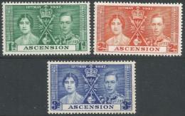 Ascension. 1937 KGVI Coronation. MH Complete Set. SG 35-7 - Ascension