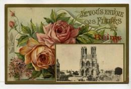 CPA  51 :  REIMS  Fleurs Avec Cathédrale     A   VOIR  !!!! - Reims