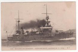 """208  Marine De Guerre  -    """" République  """" Cuirassé De 1er Rang - BC , Neuve - Guerra"""