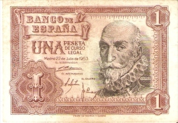 BILLETE DE 1 PTA DEL 22/07/1953 SERIE J CALIDAD BC  (BANKNOTE) ROJIZO - [ 3] 1936-1975 : Régence De Franco