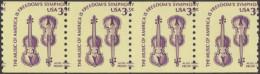 Etats-Unis 1980  Y&T 1282. Bande De 4 De Roulette, Piquage à Cheval. Violons - Music