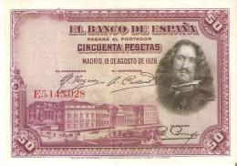 BILLETE DE ESPAÑA DE 50 PTAS DEL AÑO 1928 SERIE E CALIDAD EBC (BANKNOTE) - [ 1] …-1931 : Primeros Billetes (Banco De España)