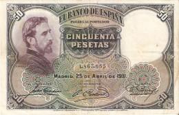 BILLETE DE 50 PTAS DE 1931 E. ROSALES SIN SERIE CALIDAD BC   (BANKNOTE) - [ 1] …-1931 : Premiers Billets (Banco De España)