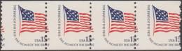 Etats-Unis 1978  Y&T 1204a. Bande De 4 De Roulette, Piquage à Cheval. Drapeau Du Fort Mc Henry, Stars And Stripes - Stamps