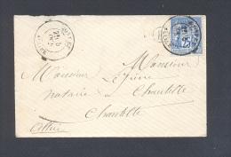 ALLIER 03 MONTET Env  Tad Type 17 Sur 25 C Sage Du 25 Octobre 1877 Boite Rurale B Non Identifiée TTB - Storia Postale