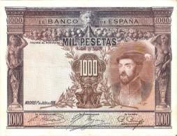 BILLETE DE ESPAÑA DE 1000 PTAS DEL AÑO 1925 DE CARLOS I CALIDAD MBC  SIN SERIE (BANKNOTE) - 1000 Pesetas