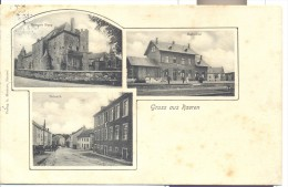 Carte Multivue rare!  Gruss aus RAEREN (pr�s Eynatten). Driesch, Burg et Bahnhof gare du train. post�e 1913.