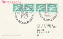 1990 EAST GERMANY EVENT COVER (card) 4x PELICAN Bird Stamps ,  LEIPZIG FAIRE Birds - Pelicans