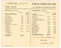 Horaires 1961 Gele Trein, Boerenbond-Leuven - Gent (St. Pieters) / Lourdes / Gent - Europe