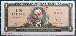 1969, SPECIMEN, Billete De Un Peso, UNC. Primera Decada De La Revolución. - Cuba