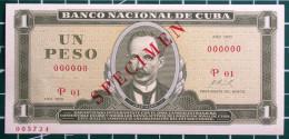 Exelente Un Peso 1970, Billete SPECIMEN, UNC. Primros Años De Revolución. - Cuba