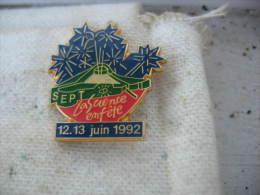 Pin's de la Science en fete les 12 et 13 juin 1992.