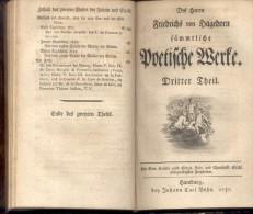 Poetische Werke. 3 Theile In 1 Band., Hagedorn, Friedrich Von:  Editorial: Hamburg, Johann Carl Bohn,, 1757 - Books, Magazines, Comics