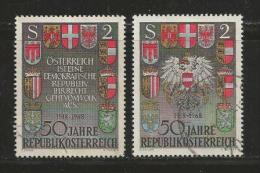 AUSTRIA, 1968, Cancelled Stamp(s), Arms 50 Years Austria, , MI Nr. 1274=1275, #4074 - 1945-.... 2nd Republic