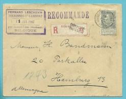 63 op brief aangetekend met stempel GRAND-LEEZ-THOREMBAIS , met privestempel TOURINNES-ST-LAMBERT