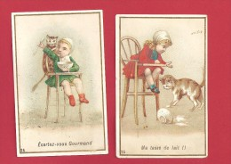 Lot 2 Chromos Chocolat Meunier Série 25 Bébé  Chat écartez Vous Gourmand   Ma Tasse De Lait - Menier
