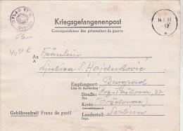 SERBIE Formulaire Prison. serbe Oflag VI C - censure illustr�e fleur 1944