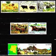 Zaïre 1099 / 04 + 1146 / 53 Animaux Des Parcs Des Virunga Et De La Garamba - Zaïre