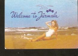 Latvia 1991  - Welcome To JURMALA  - Girl On The Beach - Old Small Calendar - Collectibles - Calendars