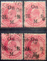 BRITISH INDIA 1902 1anna King Edward VII SERVICE USED 4 Stamps - Inde (...-1947)
