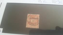 LOT 223616 TIMBRE DE COLONIE ALEXANDRIE OBLITERE N�13 VALEUR 16 EUROS