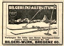 Original-Werbung/Inserat/ Anzeige 1914 - BILGERI SKI-AUSRÜSTUNG / BILGERI - WERK BREGENZ - Ca. 70 X 55 Mm - Werbung