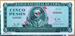 SPECIMEN 1968, Billete De CINCO PESOS, UNC. Primera Decada De La Revolución. - Cuba