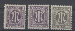 Bizone Michel No. 16 C z , 17 a D z , 18 B z ** postfrisch