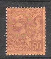 MONACO, 1891, Yvert N° 18, Prince Albert 1 Er, 50 C Lilas Brun Sur Orange , Neuf * TB!!!!! Cote 10 Euros - Neufs