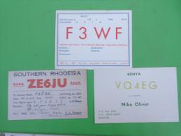 Radio Amateur-f3wf-ze6ju Southern Rhodesia-vq4eg Kenya-- - Radio Amateur
