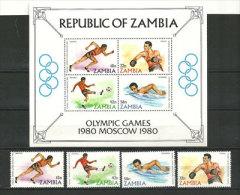ZAMBIE. Jeux Olympiques De Moscou. Yv. 213/16 + BF Nr 9 ., Neufs ** - Zomer 1980: Moskou