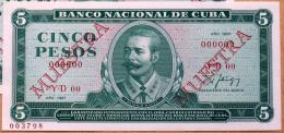 Billete MUESTRA 1987 (SPECIMEN), De CINCO PESOS, UNC. Ultimas Emisiones De Este Diseño - Cuba