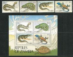 ZAMBIE. Reptiles De Zambie  Yv. 306/09 + BF Nr 13 ., Neufs ** - Reptiles & Batraciens