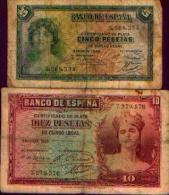 Espagne - Lot De 2 Billets : 5 Et 10 Pesetas 1935 - [ 2] 1931-1936 : République