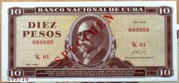 DIEZ PESOS 1968, SPECIMEN, Billete UNC. Primera Década De La Revolución Cubana. - Cuba