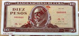 Billete De (10) DIEZ PESOS 1970, SPECIMEN, UNC. Primeros Años De La Revolución Cubana. - Cuba