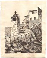 """Dépt 13 - GÉMENOS - Moulin Abandonné à L´entrée Du Parc De Saint-Pons - Joli Dessin Original """"à La Craie"""" (1934) - Drawings"""
